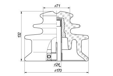 Штыревые стеклянные изоляторы ШС10-12.5-TC-II на напряжение 10 кВ